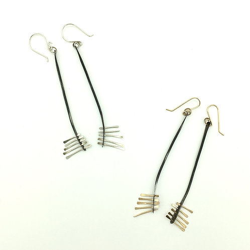 Connections Long earrings, Studio Forged, dangle earrings, silver and gold