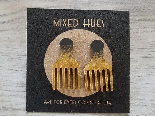 Mixed Hues Afro Pick Earrings