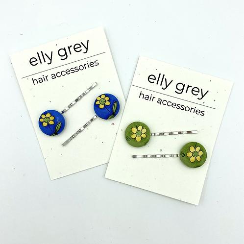 elly grey Daisy Fabric Hair Pins