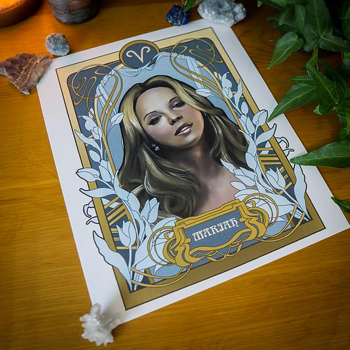 Black Zodiac Prints, Aries, Mariah Carey
