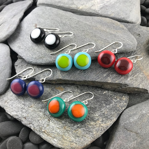 Fused Glass two-toned earrings, Lindsay Designs, five colors
