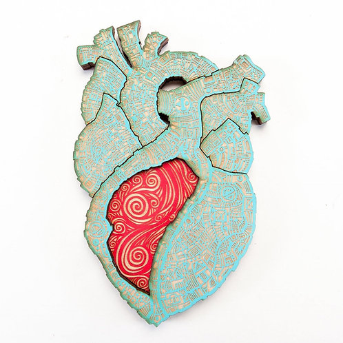 El Corazon Wall Art, Nailivic Studios, turquoise with red