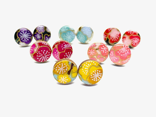 Cherry Blossom Japanese Paper Stud Earrings, Pretty Kiku, front