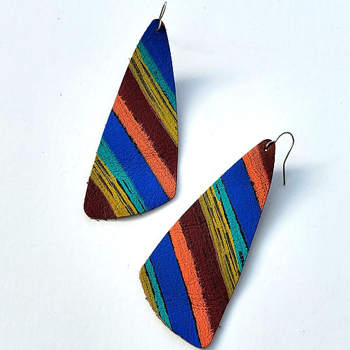 Gem Junkie Autumn Stripe Leather Earrings