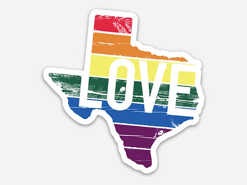 Gusto Graphic Tees TX Love Rainbow sticker, texas, pride