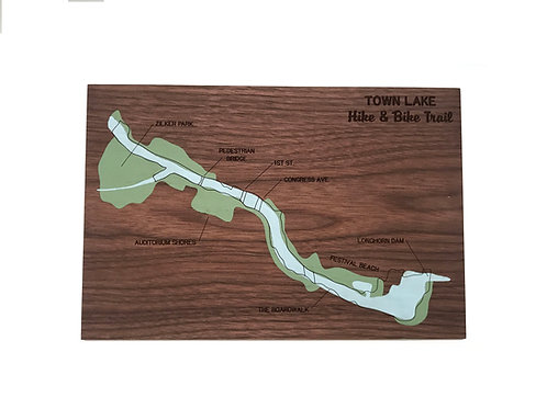 Town Lake Hike and Bike Trail Map, mosey design, front
