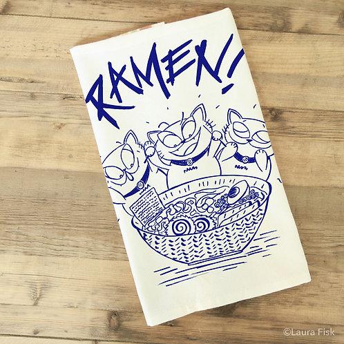 Ramen Funny Food towel, Fisk and Fern, folded, foodie gift, tea towel, kitchen towel, housewarming gift