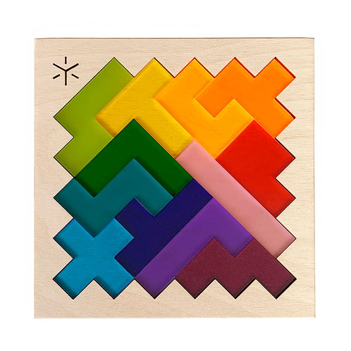 Rainbow Pentomino Puzzle, Bright Beam Goods, table top puzzle, brain teaser gift