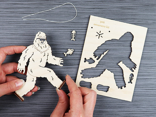 DIY ornament kit, Yeti Ornament, Bright Beam Goods, big foot ornament, sasquatch ornament
