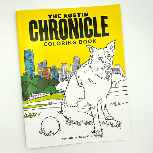 Austin Chronicle coloring book, front cover, adult coloring book, Austin gift