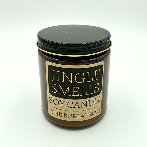 The Burlap Bag Holiday Scent Candle, glass soy candle, Jingle Smells