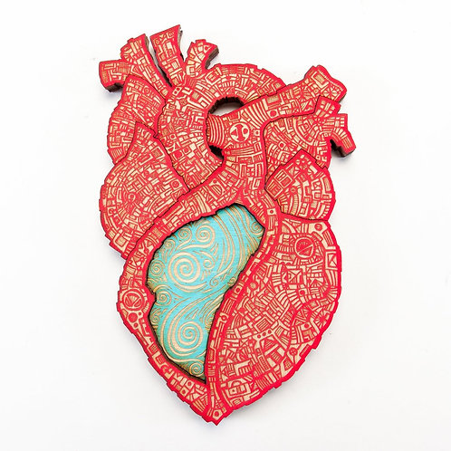 El Corazon Wall Art, Nailivic Studios, red with turquoise