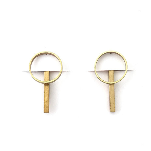 Bar and circle jacket earrings, Rebekah Vinyard, jewelry