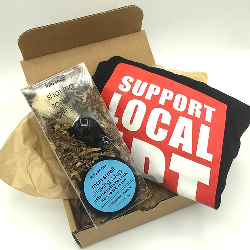 Father's Day gift set, The Local Man gift set, dad gift, Blue Genie Art Bazaar, support local art, shaving set