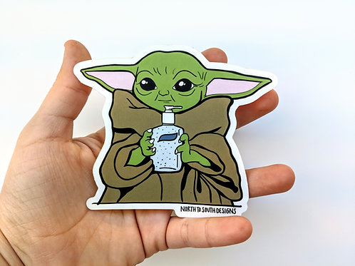 Sanitize You Must, North to South Designs, sticker, baby yoda, star wars gift