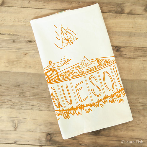 Queso funny Food towel, Fisk and Fern, folded, foodie gift, cheese lover, kitchen towel, tea towel