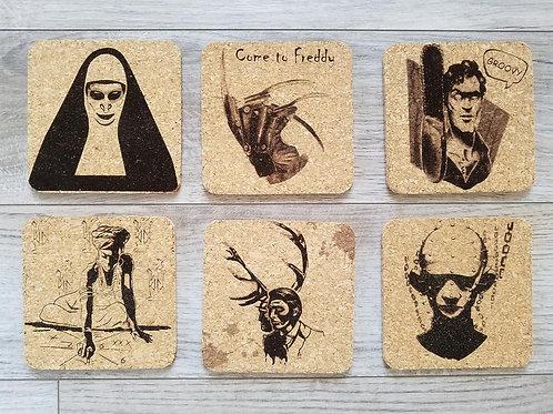 Mixed Hues Creepy Coasters, set of coasters, horror movie fan