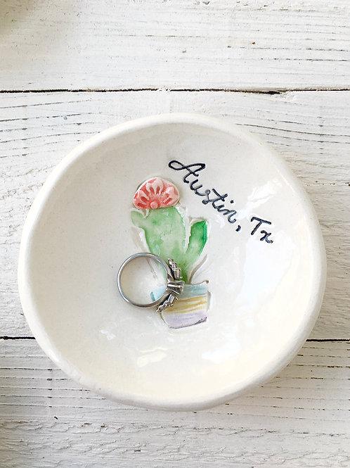 Tiny Happy Clay, austin texas, cactus, ring dish, ceramic