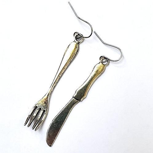 Utensil earrings, Gem Junkie, knife and fork earrings, quirky jewelry, foodie gift