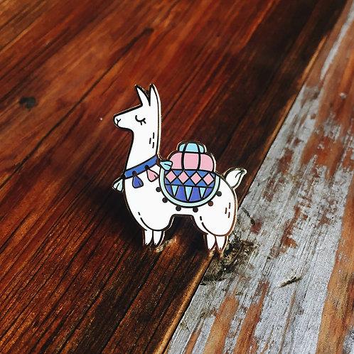Alpaca Adventures enamel pin, Floating Forest Studio