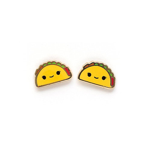 gold-plated stud earrings, Lux Cups Creative, taco earrings, taco jewelry, kawaii