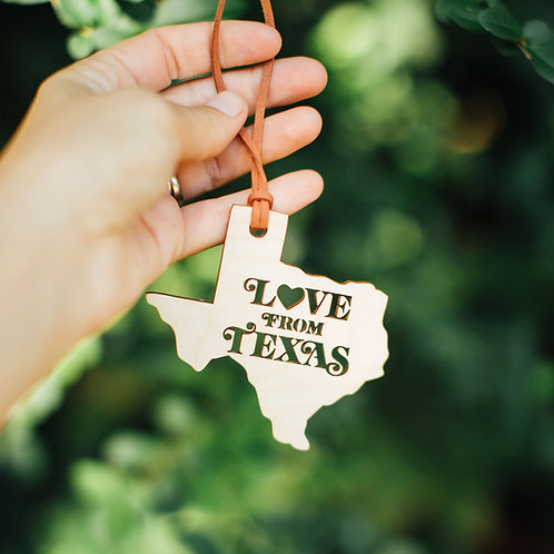 Espacio Handmade Love from Texas ornament