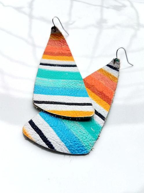 Candy Stripe Asymmetric Leather Earrings, Gem Junkie, front