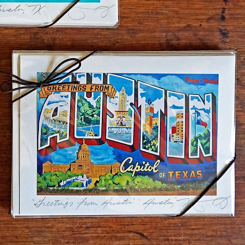 Ann Woodall Studios Greetings from Austin Greeting Card Set
