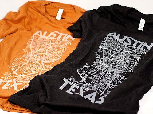 Hammerknife Press ATX Map t-shirt, orange and black