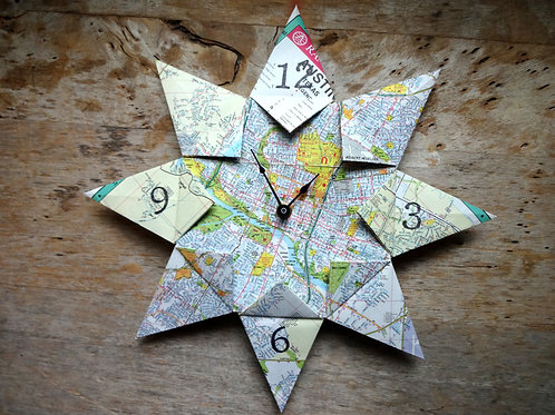 The Foxes Tail Upcycle Origami Map Clock