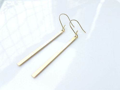 brass bar earrings, Gem Junkie