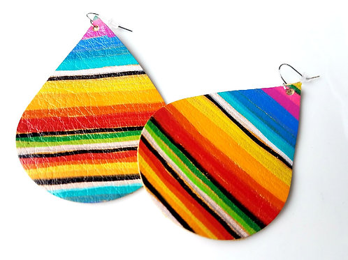 Serape leather earrings, Gem Junkie, front view
