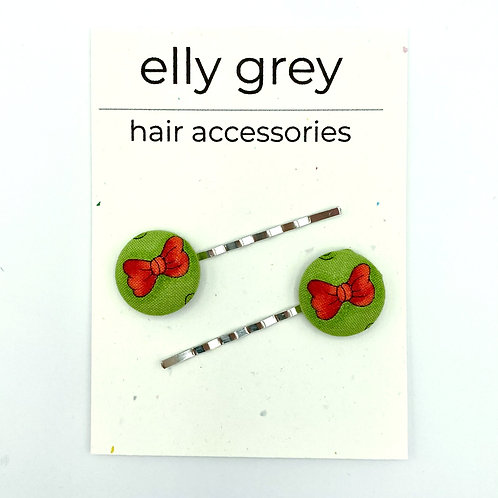 elly grey green red bow fabric hairpins, hair accessories
