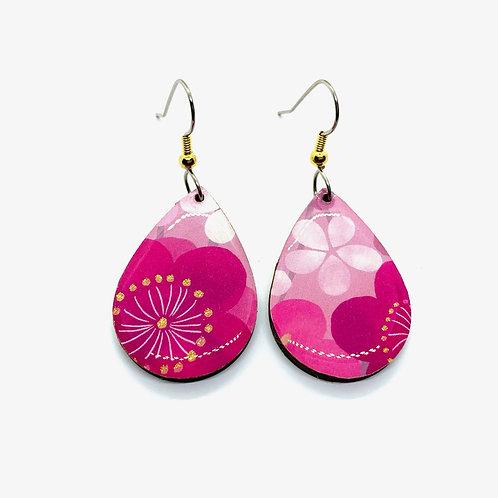 PrettyKiku Reiwa Plum Japanese Paper Earrings