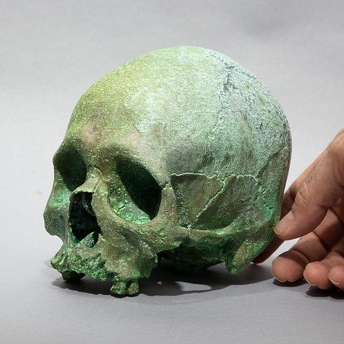Dana Younger sculpture, life size skull, limestone, skeleton, Halloween