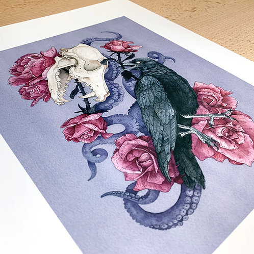 Shadow Print, Chloe Jane Gray, skull art, floral art, side