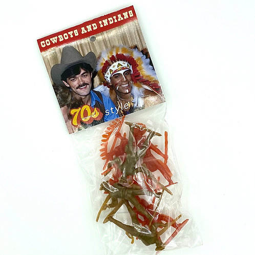 seventies style cowboys and indians, gag gift