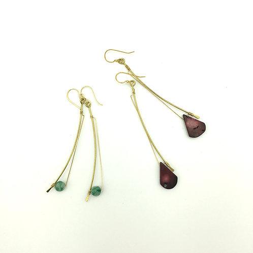 Harp Earrings, Studio Forged, amazonite, coral stone, dangle earrings