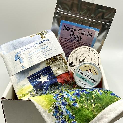 ATX Summer Tea Gift Set, tea lover gift, loose leaf tea, honey