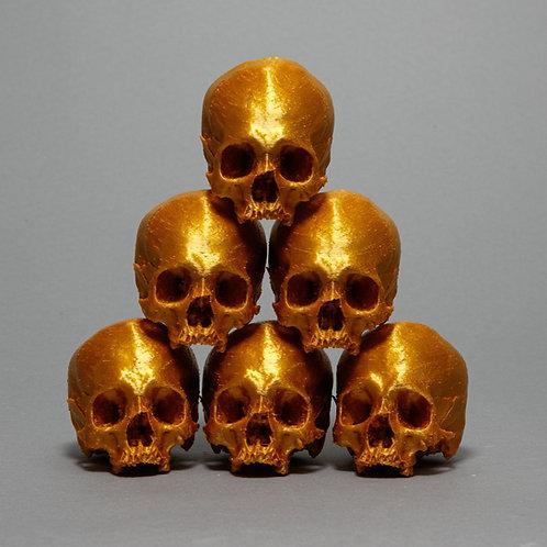 3-D Printed skull sculpture in gold filament, Dana Younger, medium skulls