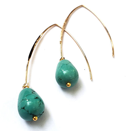 Turquoise teardrop earrings, Gem Junkie