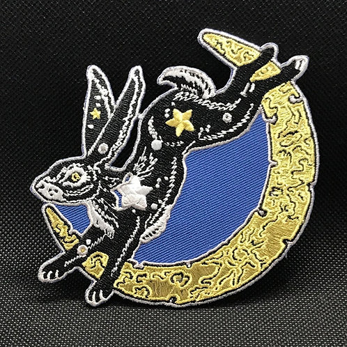 lunar hare embroidered patch, Monica Knighton, iron on patch, rabbit, moon