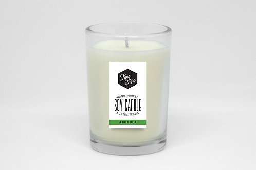 Glass Soy wax candle, 7 oz., Luna Tigre, Arugula, scented candle