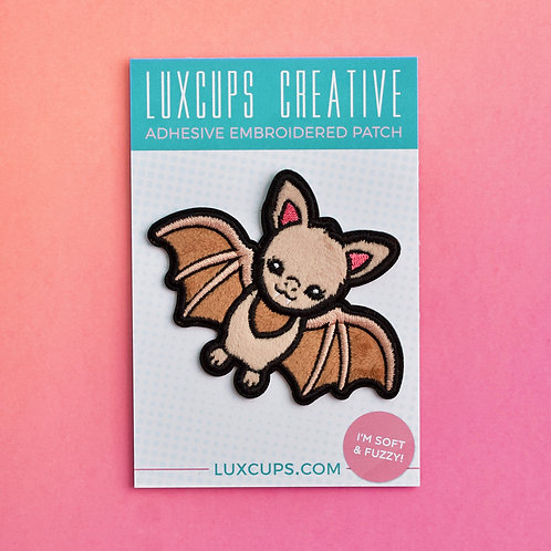 Fuzzy Adhesive Patch, Lux Cups Creative, brown bat patch, Austin Bats, kawaii, cute patch