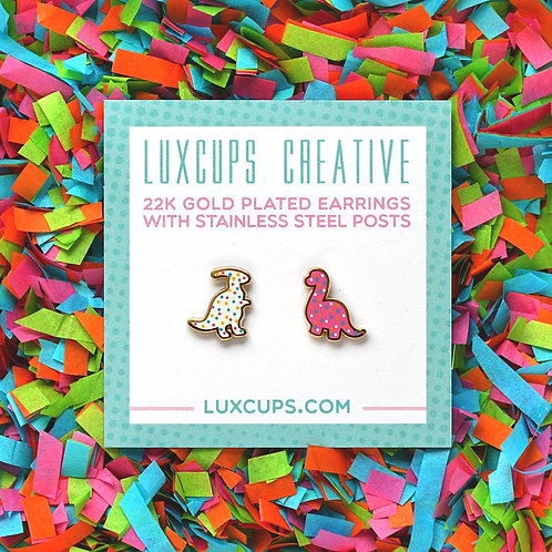 gold-plated stud earrings, Lux Cups Creative, dino cookies, baker gift, dinosaur jewelry