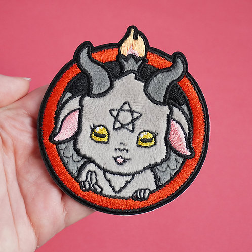 Fuzzy Adhesive Patch, Lux Cups Creative, baphomet, cute demon, kawaii