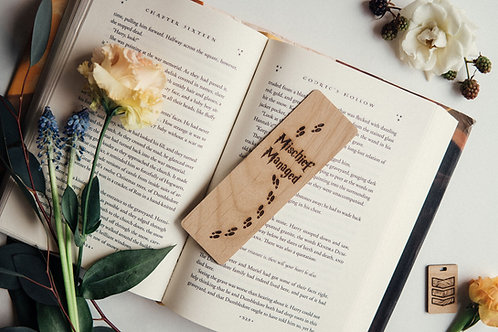 Wooden Bookmark, North to South Designs, Mischief Managed, Harry Potter, book lover gift