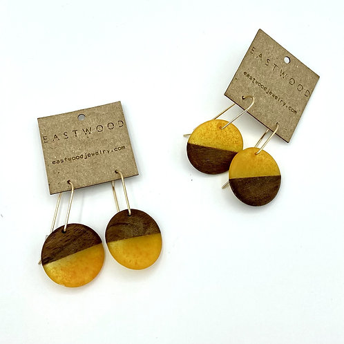 BDJ small rounder earrings with walnut and satsuma resin