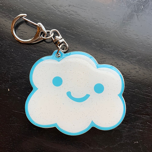 Happy and Sad sparkly cloud keychain, Super good!, happy cloud, glitter cloud keychain