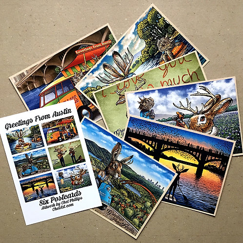 Greetings From Austin Postcard Set, Chet Art, Texas postcard set, Austin gift, postcard art, travel art